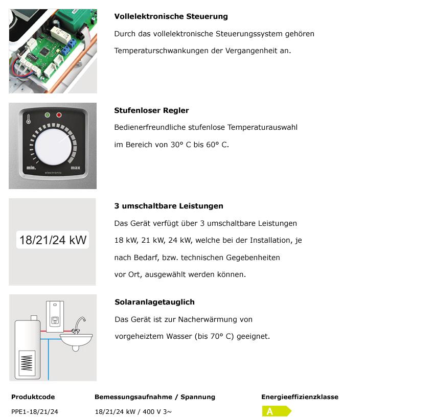 PPE1-18/21/24 kW vollelektronischer Durchlauferhitzer