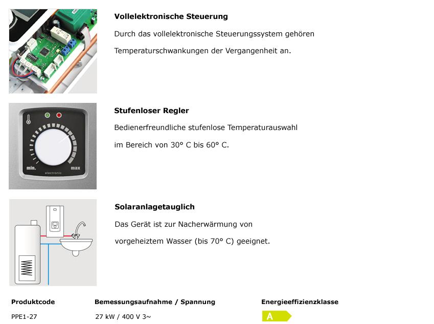 PPE1-27 kW vollelektronischer Durchlauferhitzer